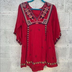 Free People Red Embroidered Tunic Top boho style
